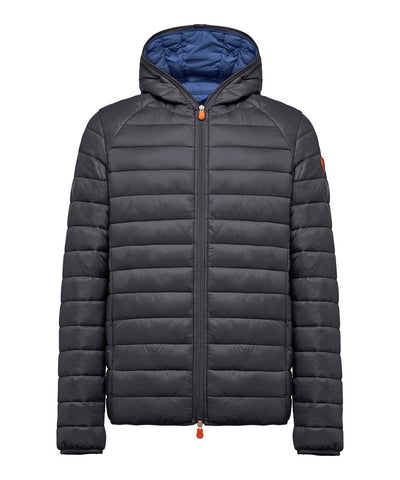 Men's Lightweight Puffer Hooded Jacket in Black