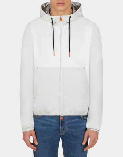 Mens FEBA Hooded Jacket in Coconut White