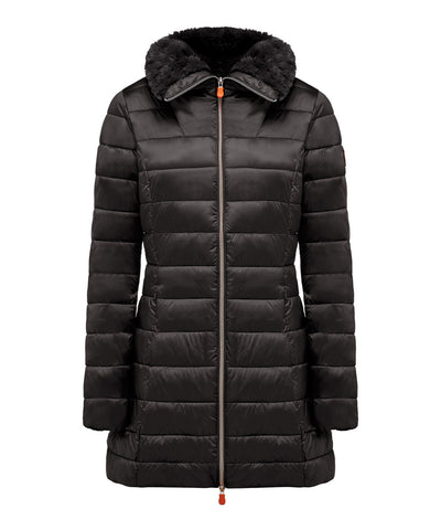 Women's Puffer Coat with Faux Fur Collar in Black