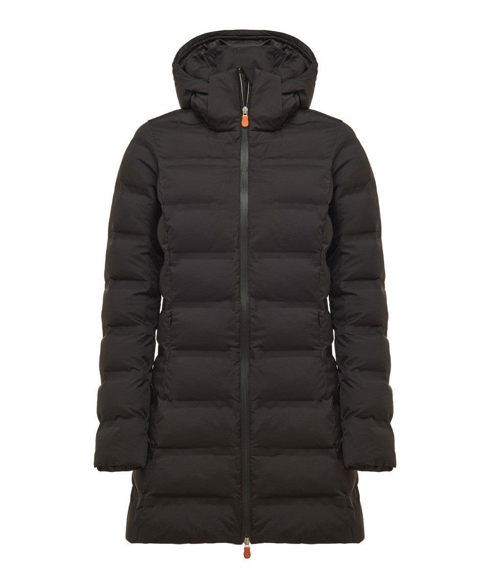 c7e140133c2 Save The Duck Women's Long Puffer Winter Coat In Black - Save the Duck