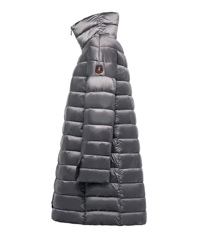 Women's Iridescent Puffer Coat in Steel Grey