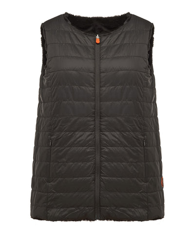 Women's Reversible Faux Fur Sleeveless Jacket in Black