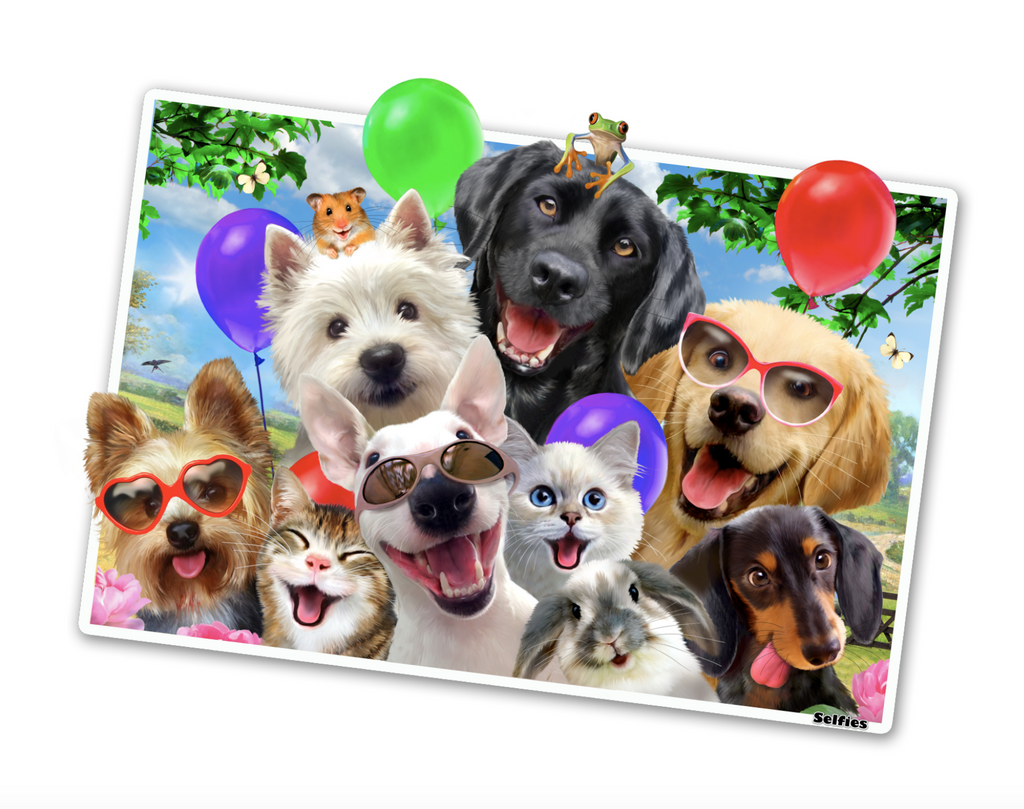 "Animal Friends Selfie Birthday Party Edition 12"" tall Wall Slaps Decal"