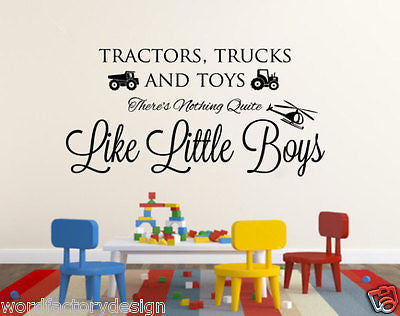 Tractors Trucks and Toys There's nothing quite like little boys Vinyl Wall decal