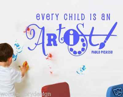 Every Child Is An Artist Pablo Picasso Word Factory Design