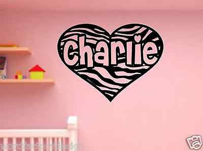 Personalized Child Name inside Zebra Print Heart Custom Vinyl wall Decal Sticker