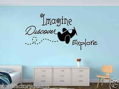 Imagine Discover Explore with Flying Plane Vinyl Wall Sticker Decal