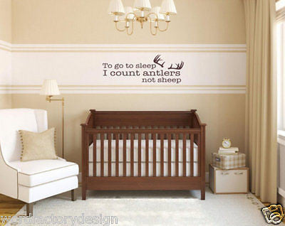 To Go To Sleep I Count Antlers Not Sheep Quote Vinyl Wall Decal Sticker Letters