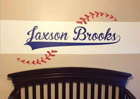 Custom Name added to Baseball Vinyl Wall Decal - Baseball theme