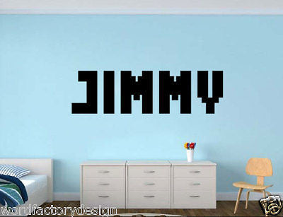 Gamer My Name - Personalized Wall Decal - Old School Pixel Video Game Font