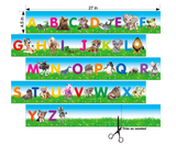 "Alphabet Animal Wall Border Peel and Stick Wall Slaps Self Adhesive Wallpaper- 4.5"" tall by 11.25 feet"