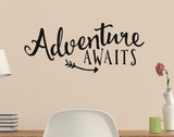 Adventure Awaits with Arrow Vinyl Wall Quote Sticker Wall Decal Decor Active