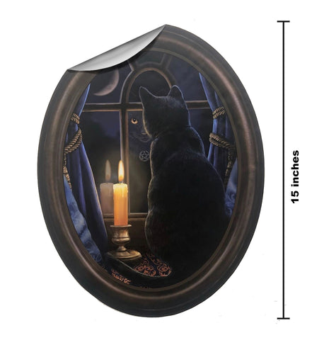 Black Cat window reflection in Frame Wall Slaps Decal
