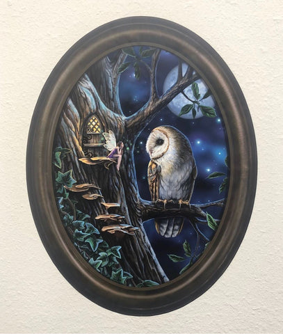 Fairy and Owl in Frame Wall Slaps Decal
