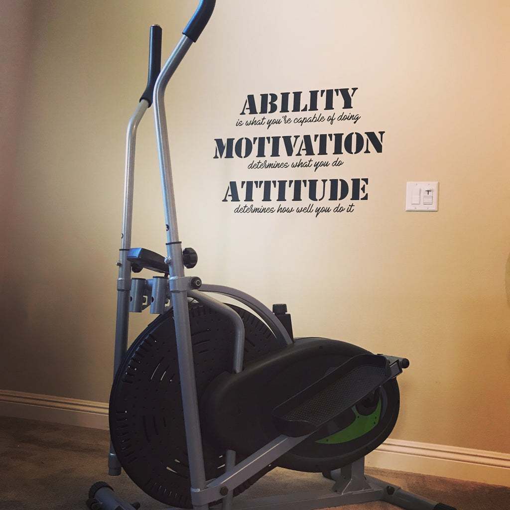 "Ability Motivation Attitude Gym Wall Decal - Motivational Wall - Inspirational Wall - Fitness Decal Large 22"" x 30"""