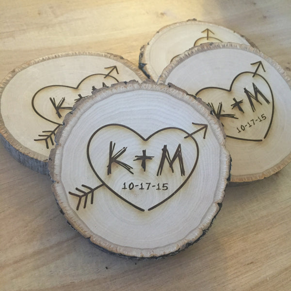 Personalized Wood Slice Tree Carving Coasters Set Of 4