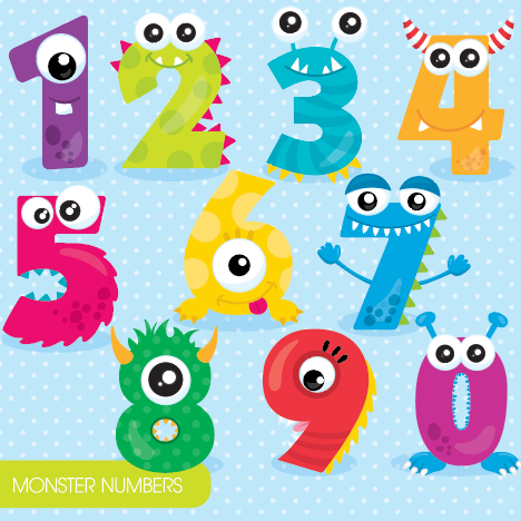 Monster Numbers - Prettygrafik Licensed Collection Removable Wall Decals