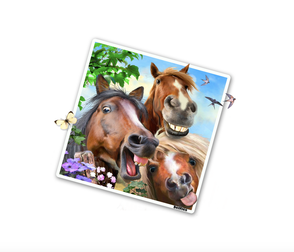 "Horses Selfie 12"" Wall Slaps Decal"
