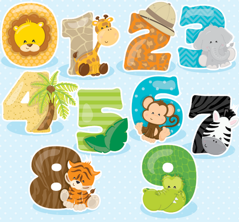 Safari Numbers - Prettygrafik Licensed Collection Removable Wall Decals