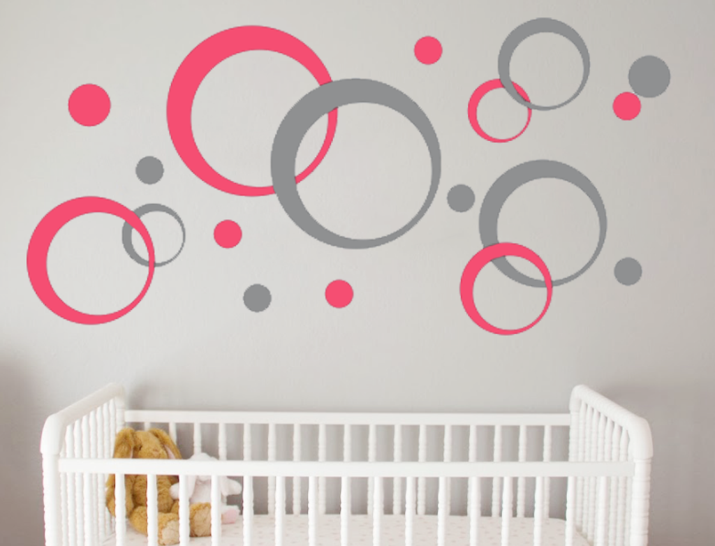 Geometric Wall Decal Bubbles   Circles   Retro Wall Decor Peel And Stick  Decals