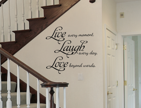 "Live Laugh Love Removable Vinyl Wall Art Quotes Decal Sticker 22"" tall and 24"" wide"