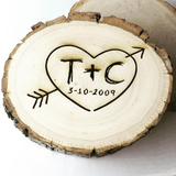 Personalized Wood Slice Tree Carving Coasters - Set of 4