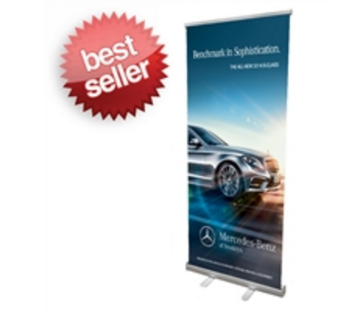 "Retractable Roll Up Banner Stand 33"" wide by up to 78"" tall"