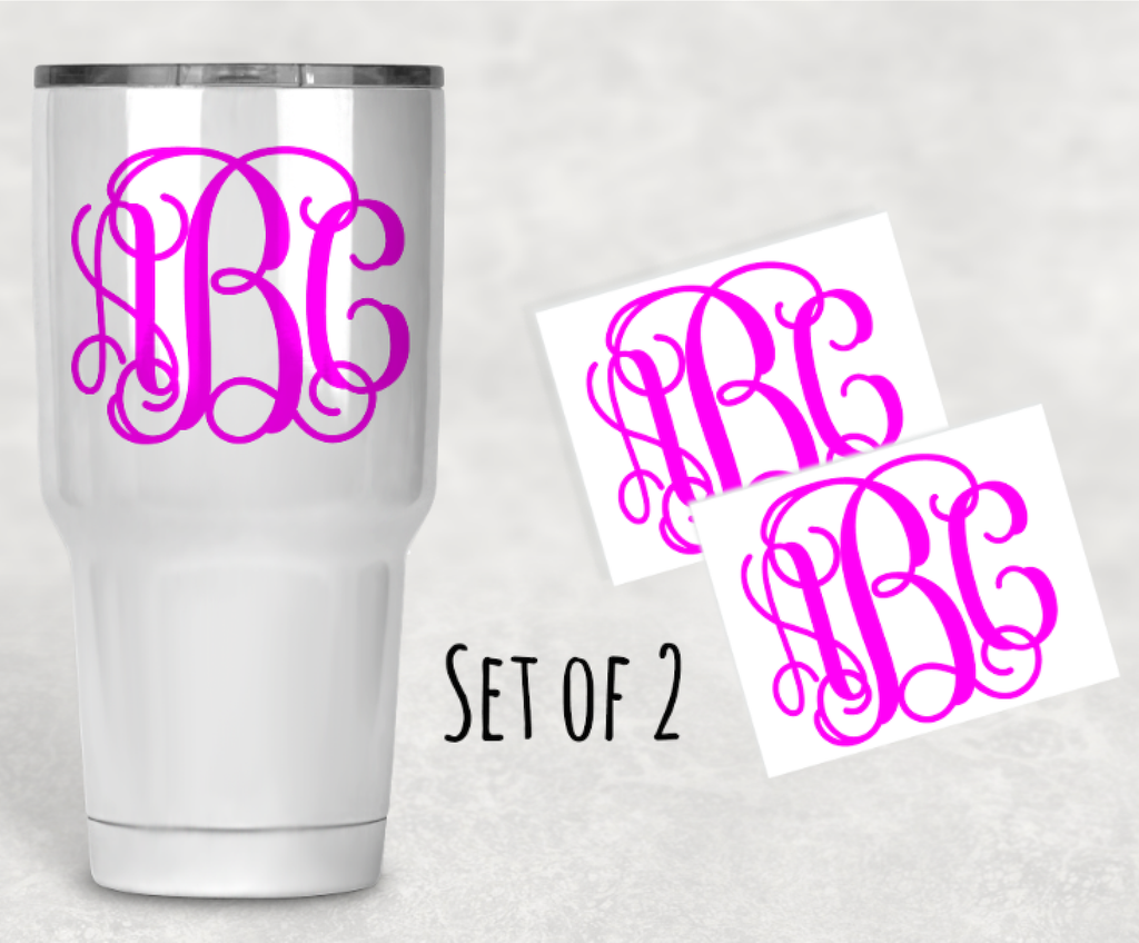 Set of 2 Vine Monogram Vinyl Decal Sticker for Your Phone Tumbler Yeti Car Laptop Locker or Mirror