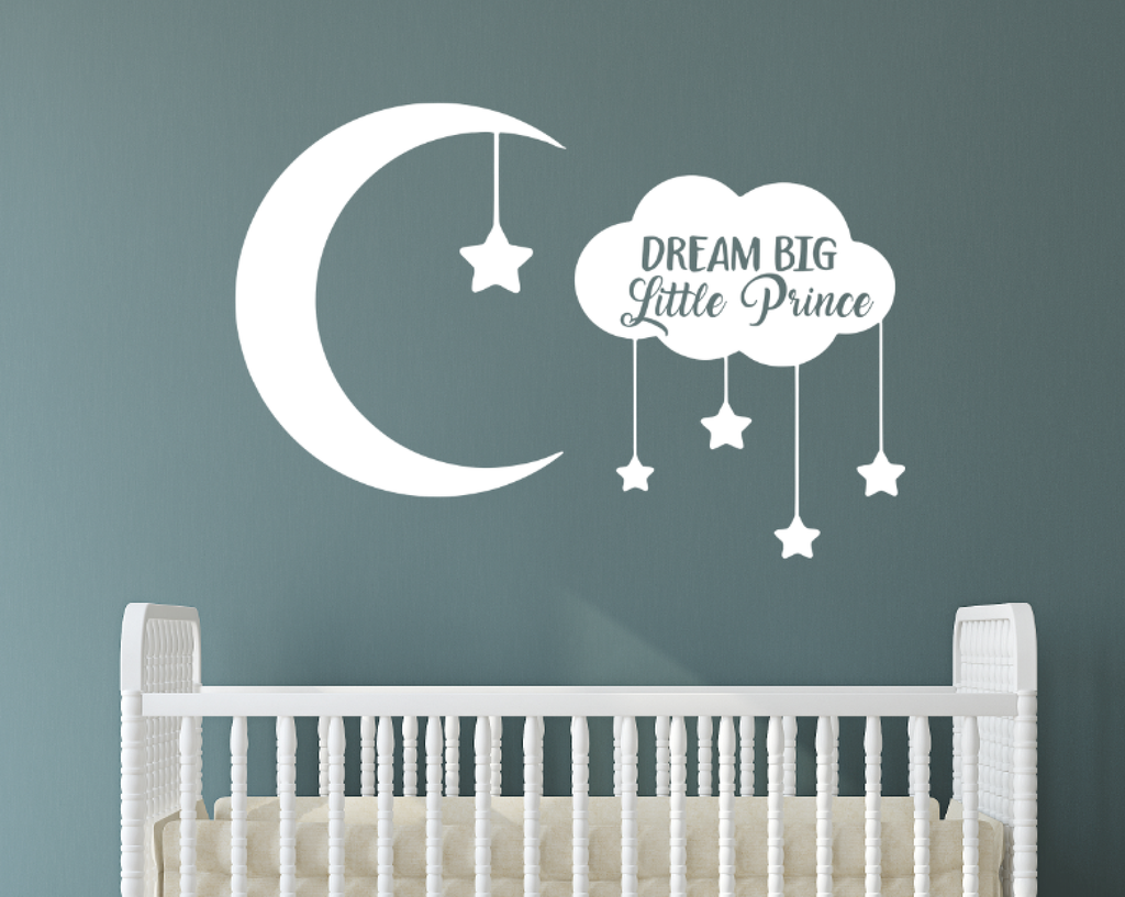 Dream Big Little Prince with Moon and Stars Removable Vinyl Wall Decal