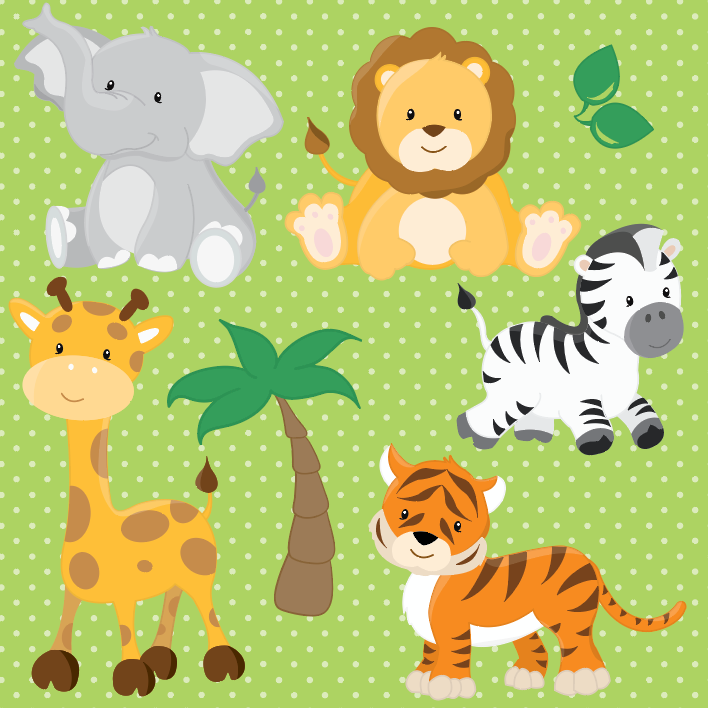 Safari Animals - Prettygrafik Licensed Collection Removable Wall Decals