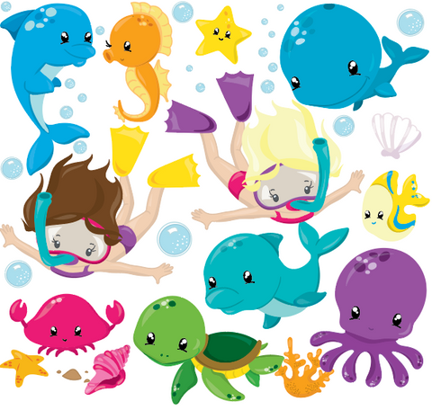 Under the Sea Ocean Fun - Prettygrafik Licensed Collection Removable Wall Decals