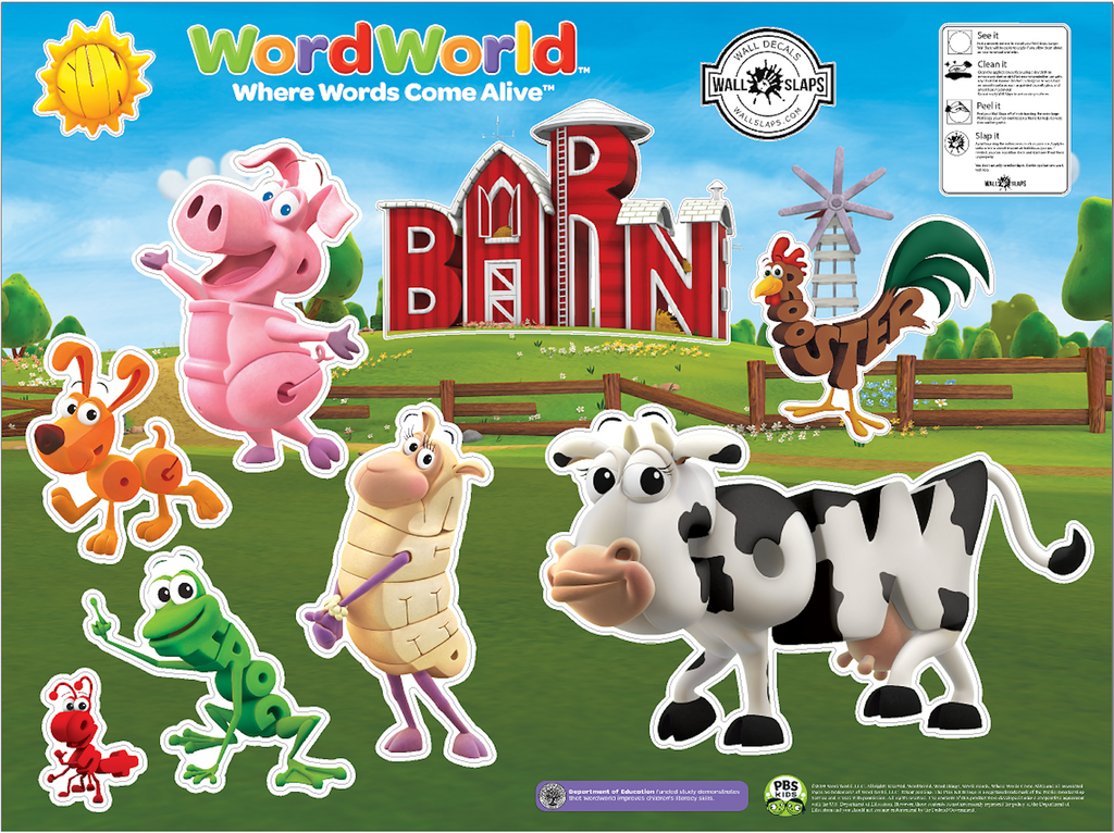 PBS Kids WordWorld Barn Animals Set Small Wall Decals