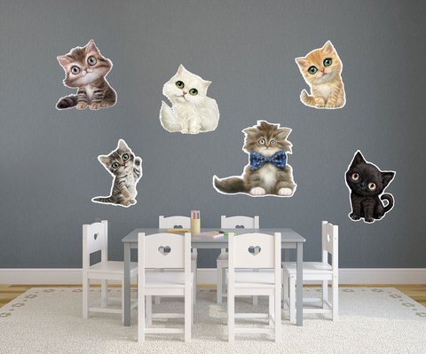 Set of 6 Cat Wall Slaps Decal