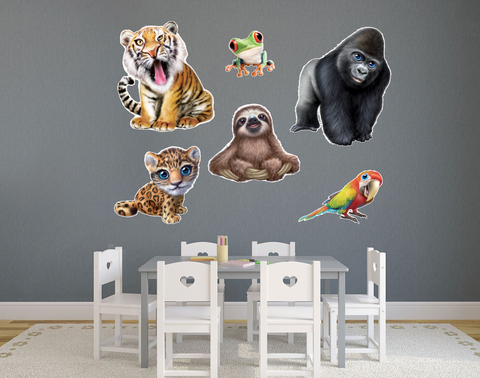 Set of 6 Jungle Safari Theme Wall Slaps Decal
