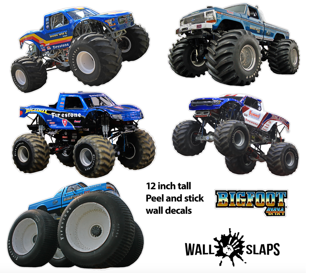 "Set of 5 BigFoot 4x4 Monster Truck Wall Decals - 12"" tall Trucks"