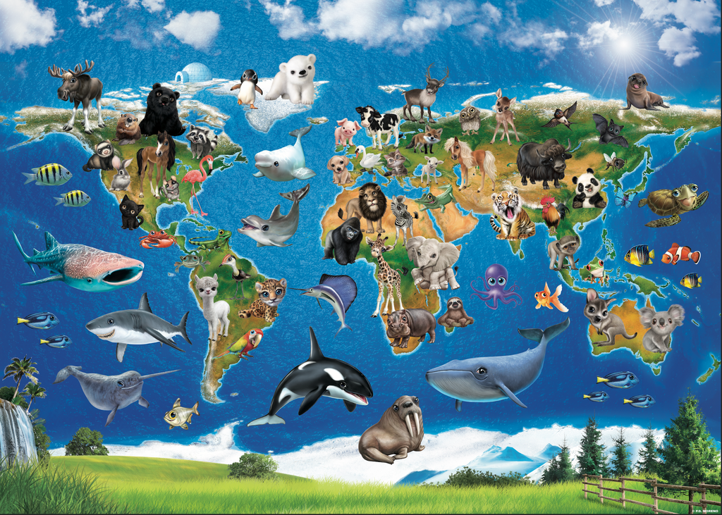 Kids World Map with Animals - Self Adhesive Peel and Stick