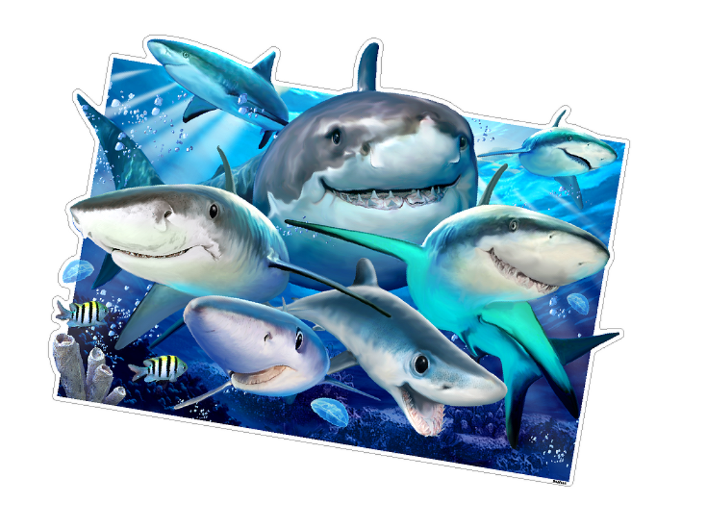 "Sharks Under the Sea Ocean Selfie 12"" tall Wall Slaps Decal"