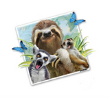 "Lemur Sloth and Meerkat Selfie 12"" tall Wall Slaps Decal"