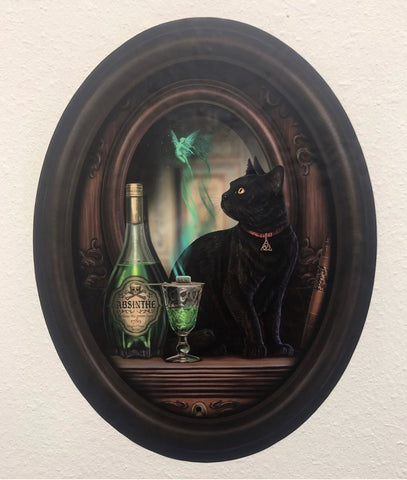 Black Cat and Absinthe in Frame Wall Slaps Decal