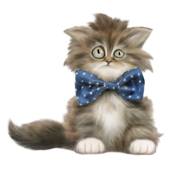 "Cat with Bowtie 12"" Wall Slaps Decal"