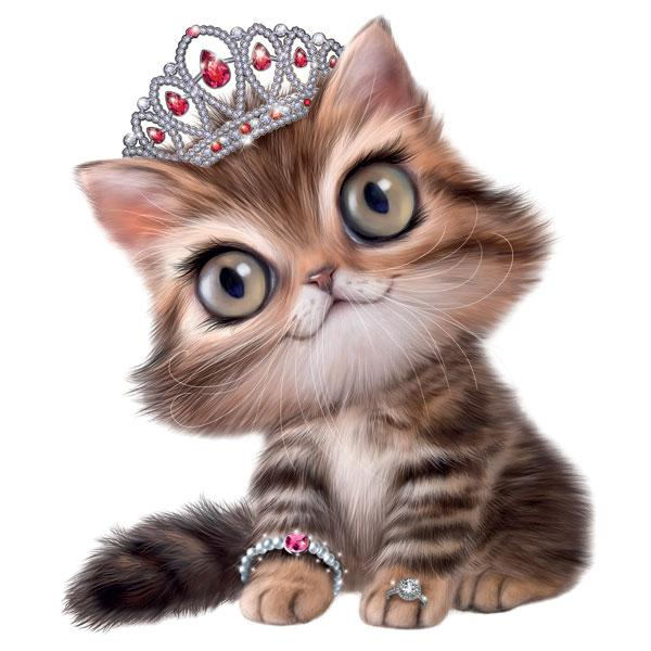 "Kitten in Tiara 12"" Wall Slaps Decal"