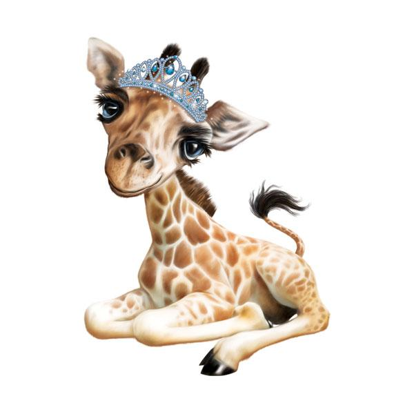 "Giraffe in Tiara 12"" Wall Slaps Decal"