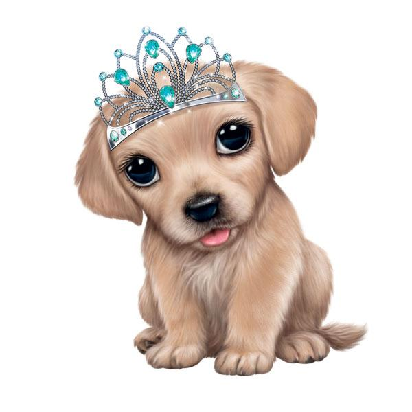 "Golden Retriever in Tiara 12"" Wall Slaps Decal"