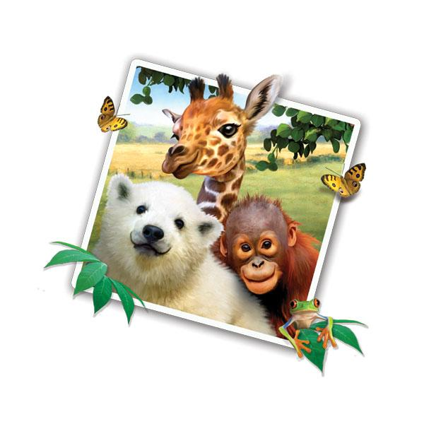 "Jungle Pets Selfie 12"" Wall Slaps Decal (orangutan, giraffe, polar bear, tree frog)"