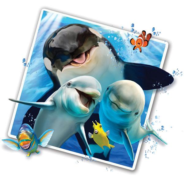 "Ocean Selfie 12"" Wall Slaps Decal (Whale, dolphins, clown fish)"
