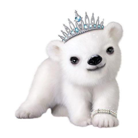"Polar Bear in Tiara 12"" Wall Slaps Decal"