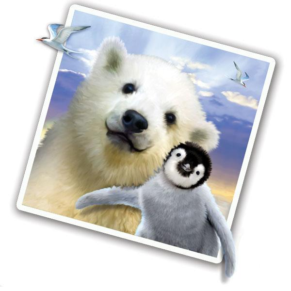 "Polar Pets Selfie 12"" Wall Slaps Decal (Polar bear, Penguin)"