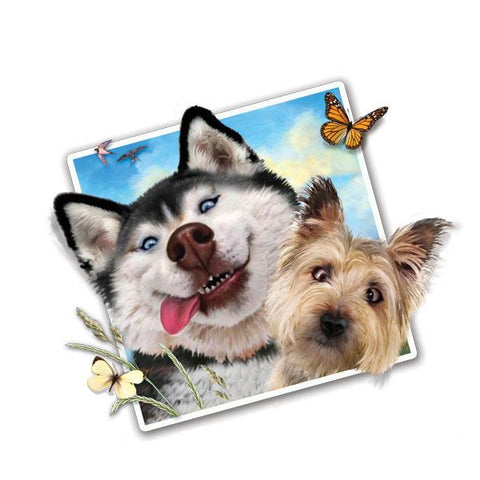 "Selfie Dogs 12"" Wall Slaps Decal"