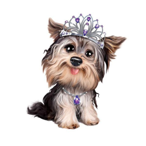 "Yorkie in Tiara 12"" Wall Slaps Decal"