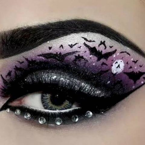 Bat at midnight Halloween eye makeup